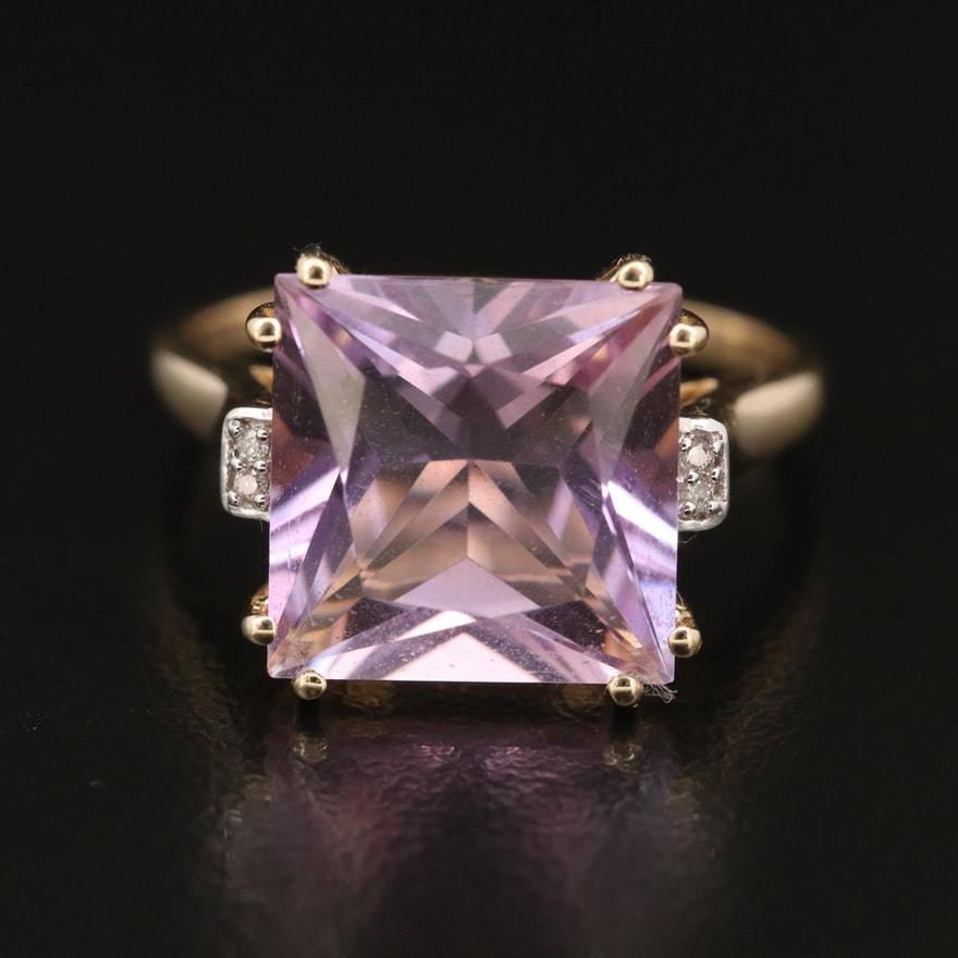 9K Amethyst and Diamond Accent Ring