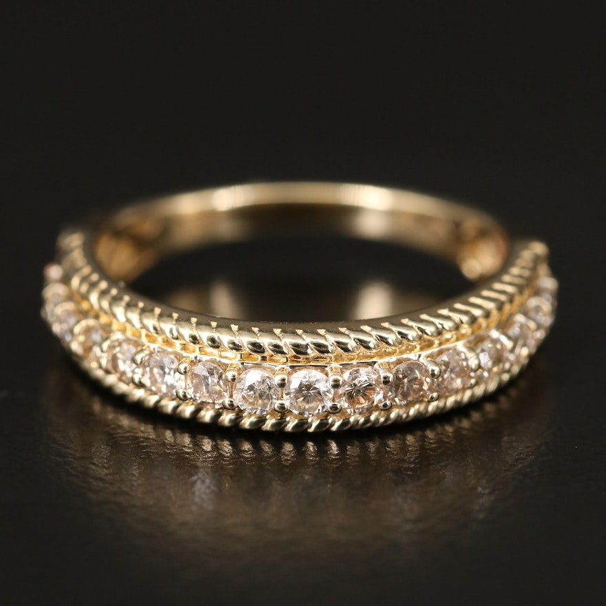14K Diamond Band with Rope Detailing