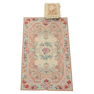 3'x5' French Aubusson Style Needlepoint Rug and Rose Motif Needlepoint Pillow