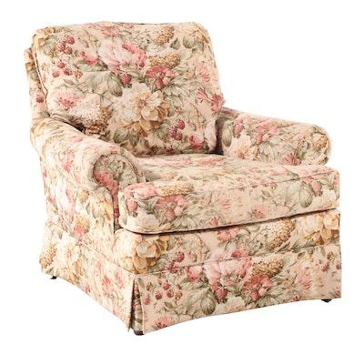 Sherrill Linen Print Upholstered Lounge Chair
