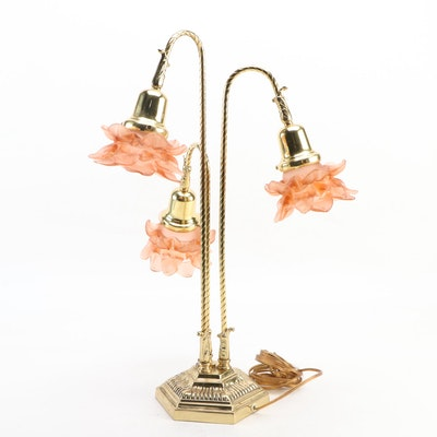 Lacquered Brass Three-Arm Table Lamp with Peach Glass Shades