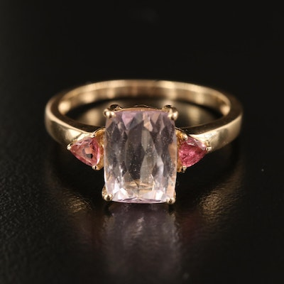 10K Kunzite Ring with Tourmaline Accents