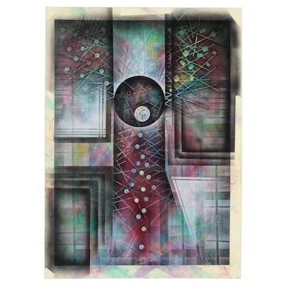 Ricardo Maya Abstract Acrylic Painting with Airbrush