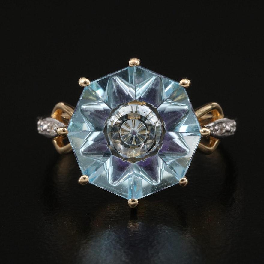 Glenn Lehrer 10K Topaz, Amethyst and Diamond Ring
