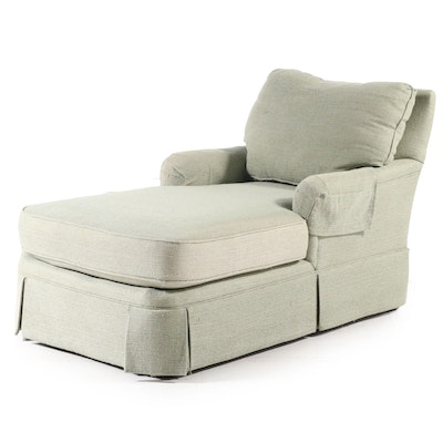 Skirted Chaise Lounge in Woven Textured Upholstery