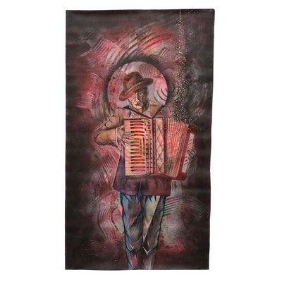 Ricardo Maya Figural Acrylic Painting with Airbrush