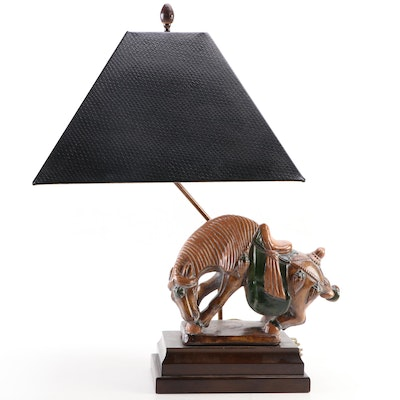 Tang Dynasty Horse Figurine Table Lamp with Frederick Cooper Lamp Shade