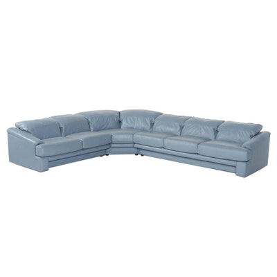 Preview Furniture Blue Leather Sectional Sofa, Late 20th Century