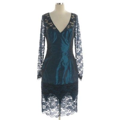 Blue Taffeta and Lace Cocktail Dress with V-Cut Neckline
