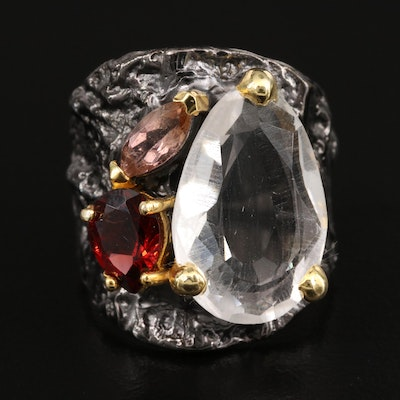 Sterling Silver Quartz, Garnet and Tourmaline Ring with Hammered Finish