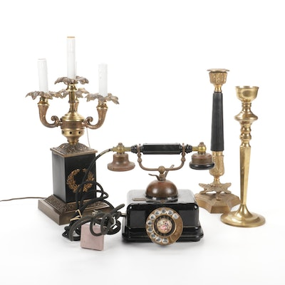 Japanese Rotary Phone, Candelabra Lamp and Candlesticks, Mid-20th C