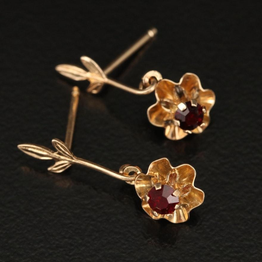 14K Garnet Buttercup Flower Drop Earrings