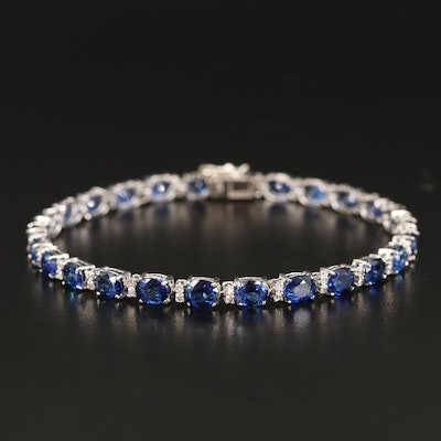 18K Oval Faceted Sapphire and Diamond Bracelet