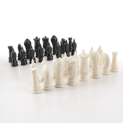 Glazed Duncan Style Ceramic Chess Pieces