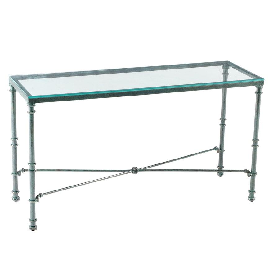 Wrought Iron Sofa Table in Green Epoxy Finish