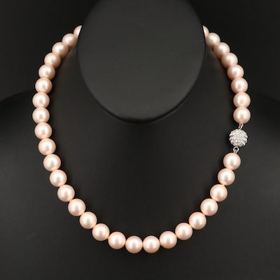 Faux Pearl Necklace with Sterling Bead Clasp
