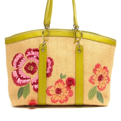 Christian Dior Limited Edition Embellished Floral Raffia and Leather Tote