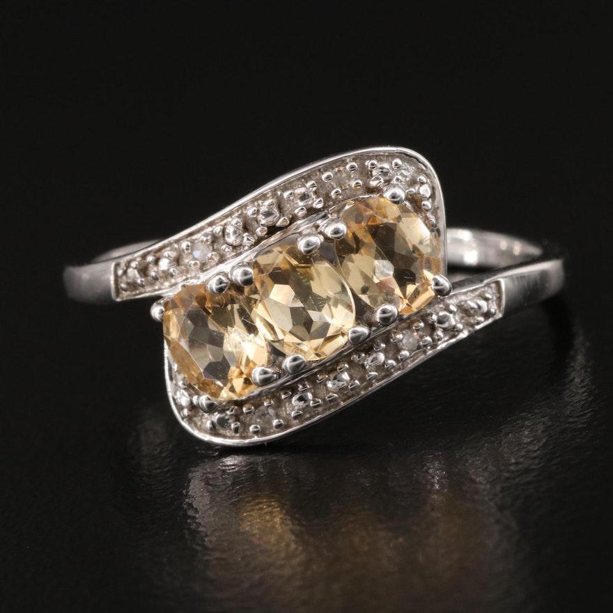 10K Topaz and Diamond Bypass Ring