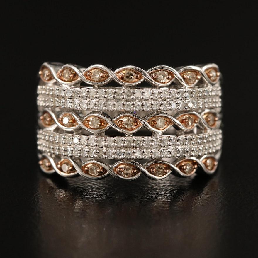 Sterling Multi Row Diamond Band