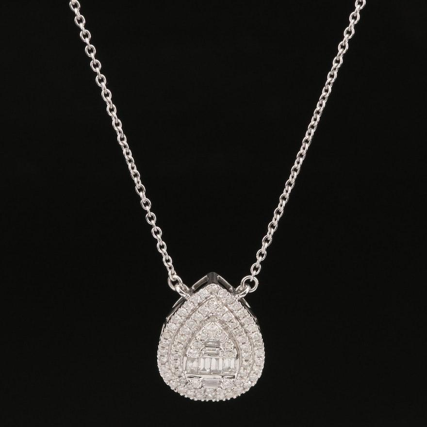 14K 1.17 CTW Diamond Double Halo Pendant Necklace