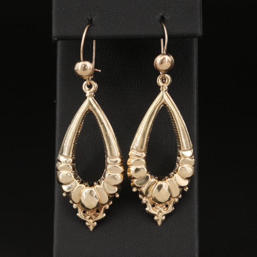 14K Fancy Oval Earrings