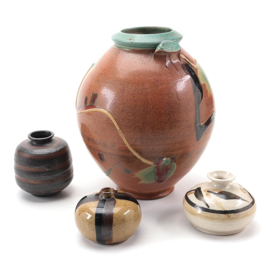 Japanese Atami Stoneware Vase and Other Artisan Signed Studio Pottery