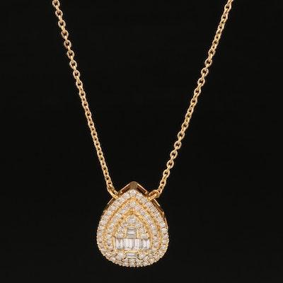 14K 1.13 CTW Diamond Double Halo Pendant Necklace