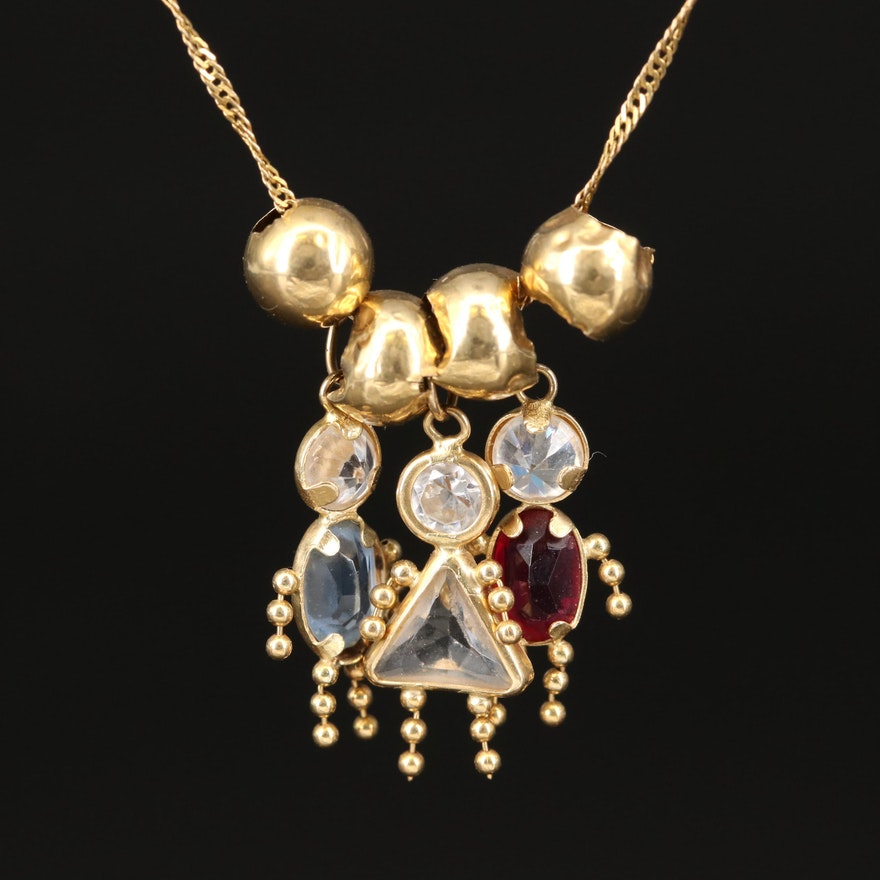 14K Birthstone Figure Necklace