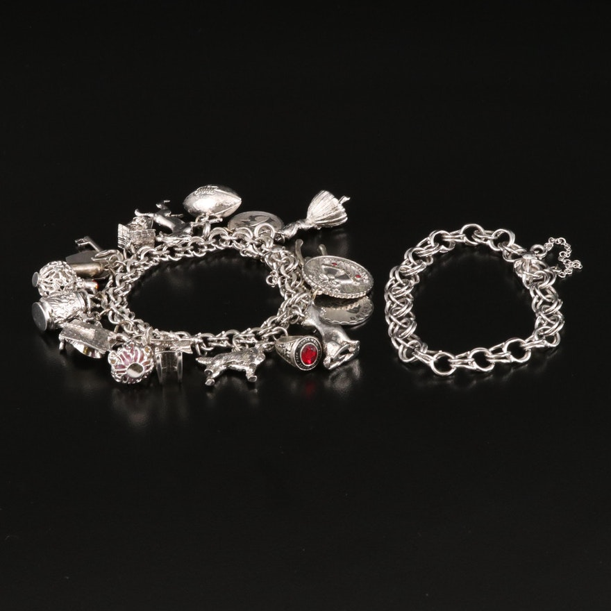 Vintage Sterling Silver Charm Bracelets Featuring Various Designs