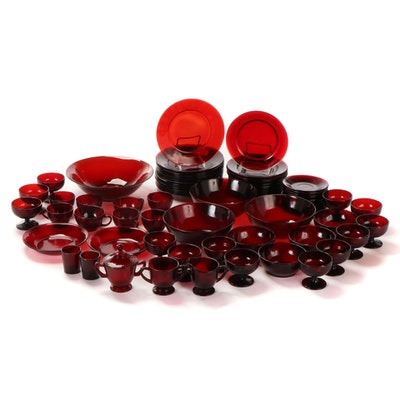 Anchor Hocking Royal Ruby Plates, Bowls, Cups and Other Ruby Pressed Glass