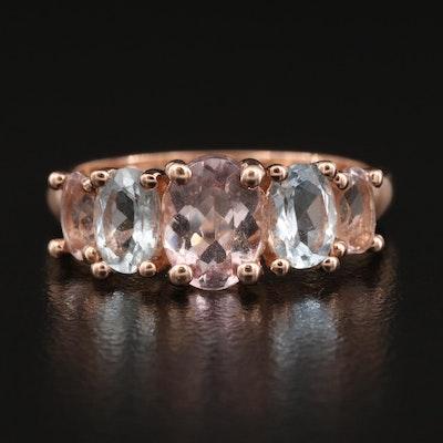 10K Morganite and Aquamarine Ring
