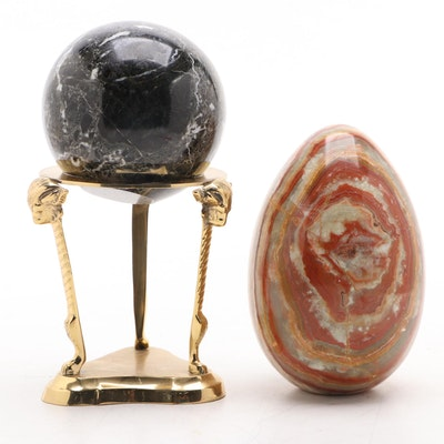 Polished Black Marble Sphere on Brass Stand with Polished Onyx Egg