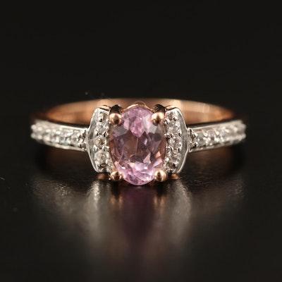 10K Kunzite and White Zircon Ring