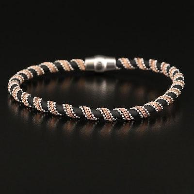 Italian Sterling Chain Wrapped Rubber Bracelet