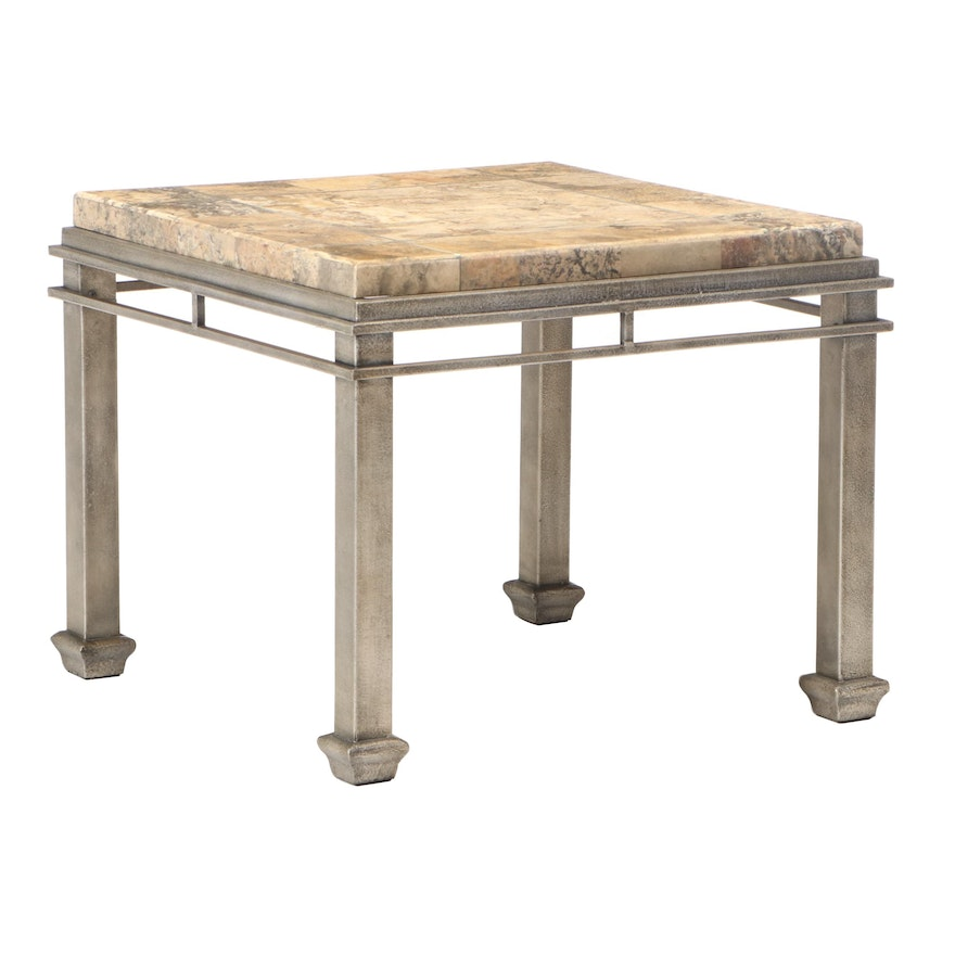 Metal and Ceramic Faux Stone End Table