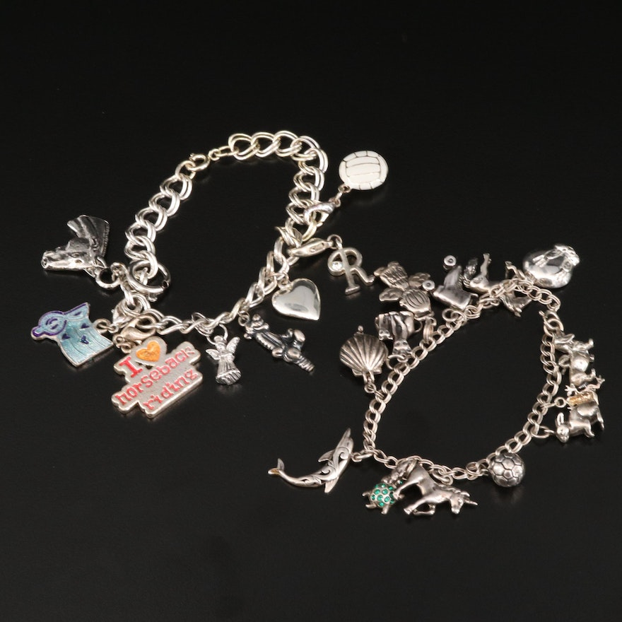 Vintage Sterling Charm Bracelets Featuring Cubic Zirconia and Enamel Accents