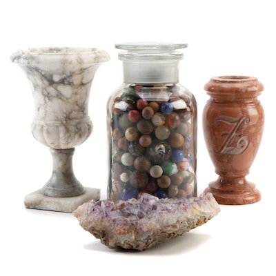 Glass and Clay Marble Collection with Amethyst Specimen and Carved Stone Vases