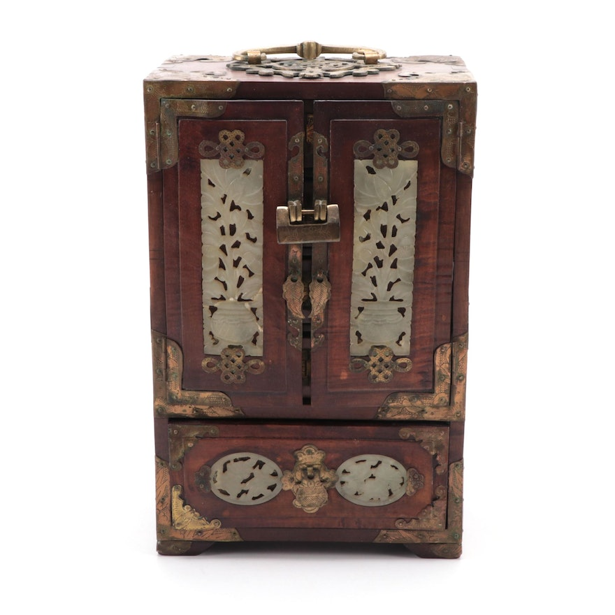 Chinese Carved Serpentine and Brass Mounted Hardwood Jewelry Box