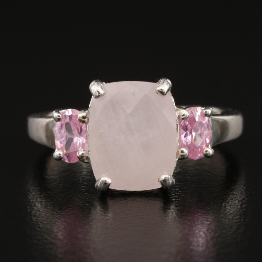 Sterling Silver Quartzite and Cubic Zirconia Ring
