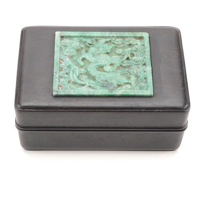 Chinese Wooden Box with Carved Dragon Jadeite Medallion