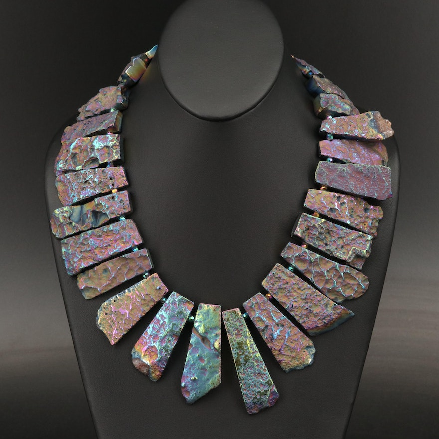 Reversible Pyrite and Glass Bead Necklace with Sterling Silver Clasp