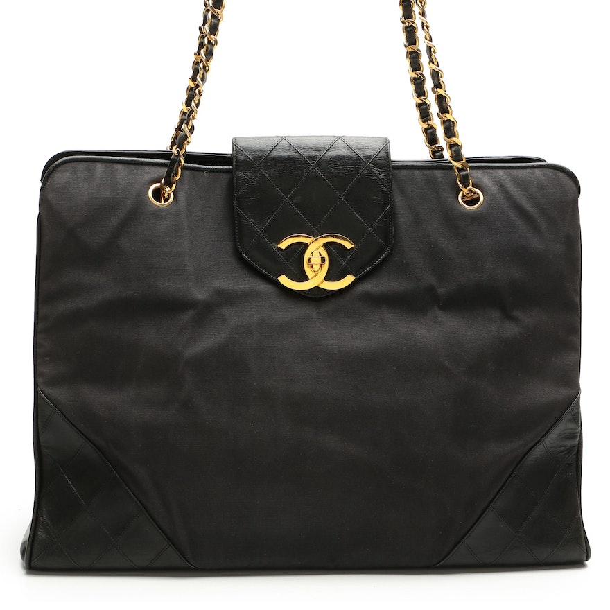 Chanel Black Canvas and Quilted Leather Chain Tote
