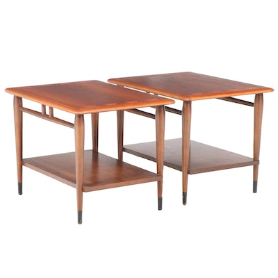 """Pair of Andre Bus for Lane """"Acclaim"""" Mid Century Modern Walnut Side Tables"""