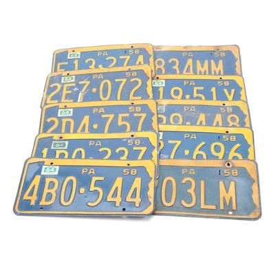 Pennsylvania Metal Automobile License Plates, 1958