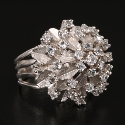 1950s 14K White Spinel Tiered Ring