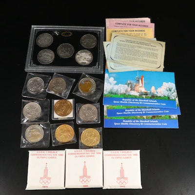 Assortment of Commemorative Coins and Medals