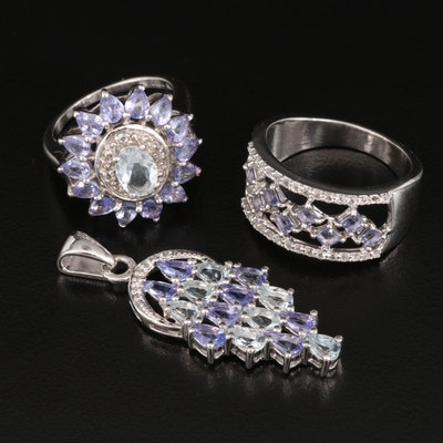 Sterling Rings and Pendant Featuring Tanzanite, Aquamarine and White Topaz