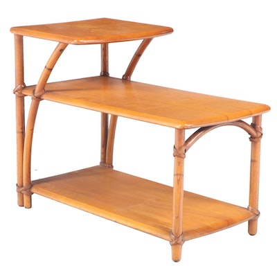 """Heywood-Wakefield """"Ashcraft"""" Steam-Bent Ash and Birch Stepback Side Table"""