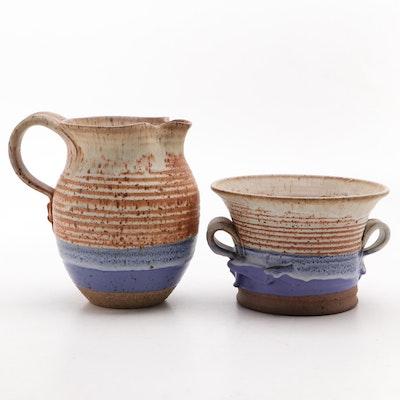Thomas Reece Art Pottery Stoneware Pitcher and Bowl