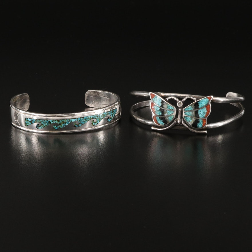 Sterling Coral, Turquoise and Onyx Cuffs Including Corbet Joe Navajo Diné